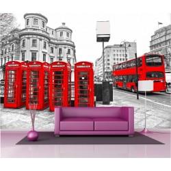 Papier peint géant déco cabine bus Londres 250x360cm