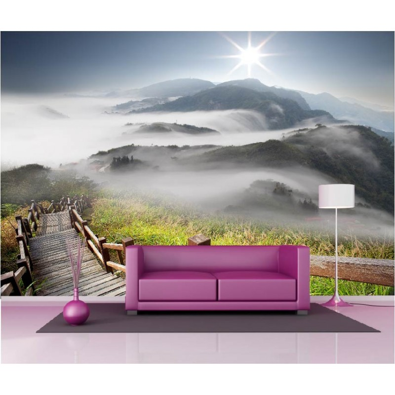papier peint g ant d co montagne brumeuse 250x360cm art d co stickers. Black Bedroom Furniture Sets. Home Design Ideas