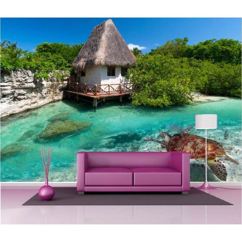 papier peint g ant d co maison bord de plage tortue de mer 250x360cm art d co stickers. Black Bedroom Furniture Sets. Home Design Ideas