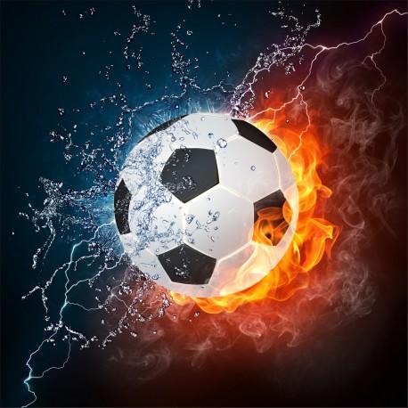 Sticker Ballon de foot eau et feux