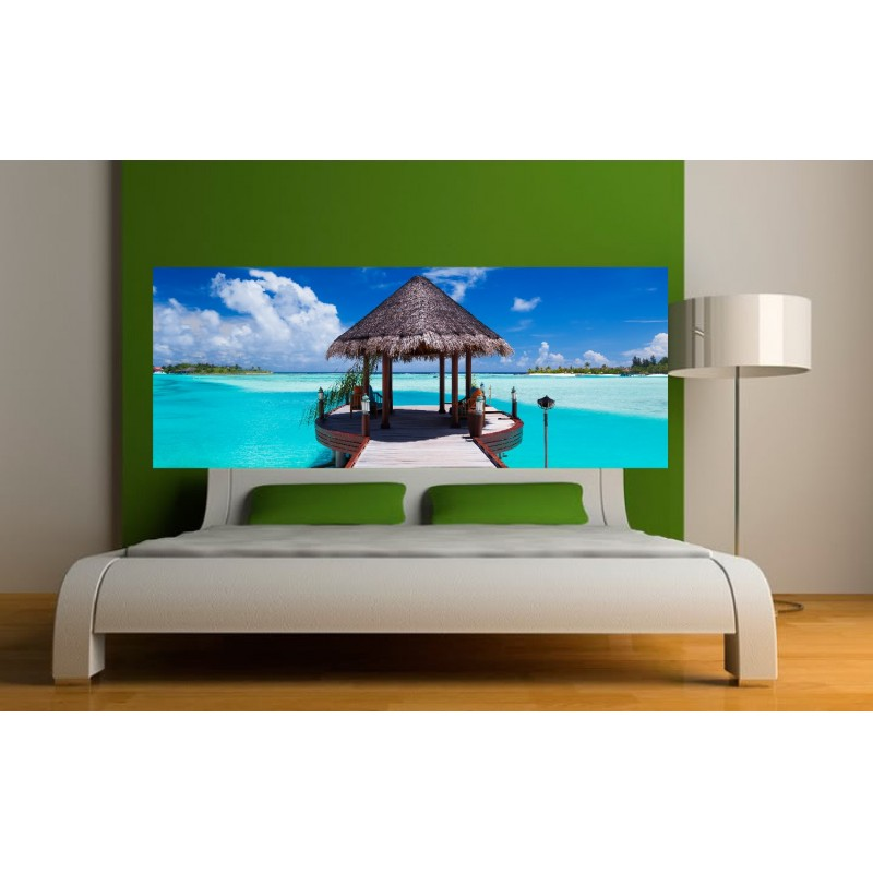 stickers t te de lit les seychelles art d co stickers. Black Bedroom Furniture Sets. Home Design Ideas