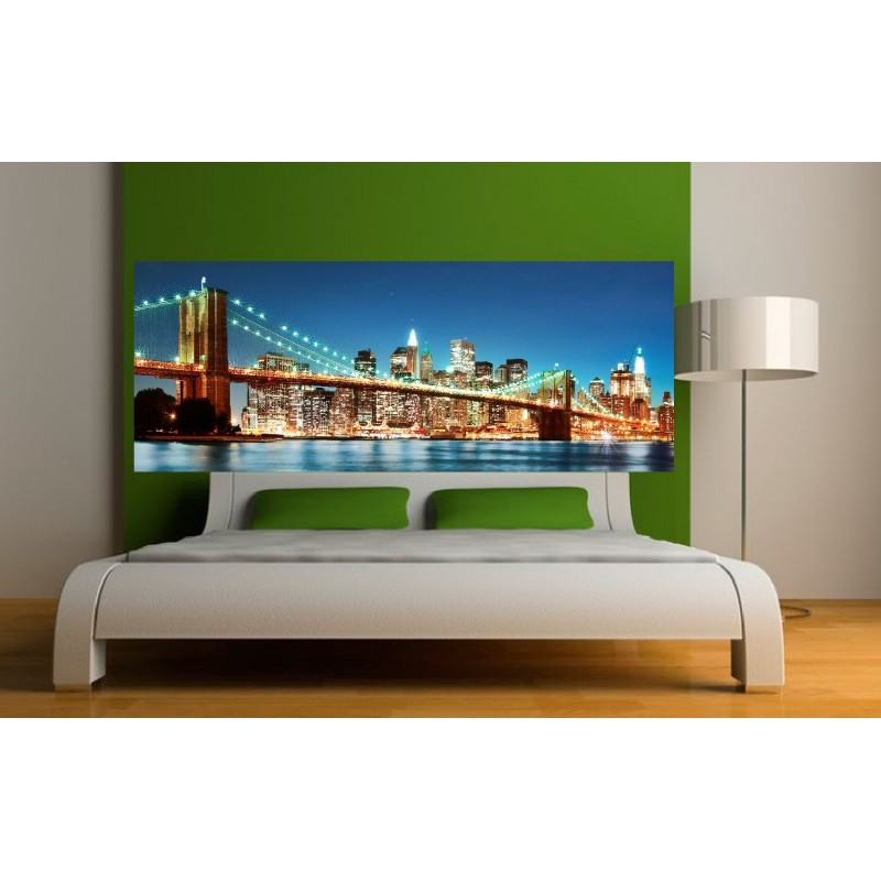 stickers t te de lit new york pont de brooklyn art d co stickers. Black Bedroom Furniture Sets. Home Design Ideas