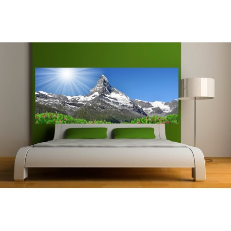 stickers t te de lit paysage montagne art d co stickers. Black Bedroom Furniture Sets. Home Design Ideas