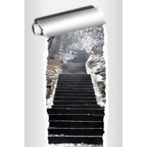 Sticker Trompe l'oeil déco Escalier hiver
