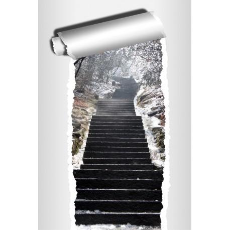 sticker trompe l 39 oeil d co escalier hiver art d co stickers. Black Bedroom Furniture Sets. Home Design Ideas