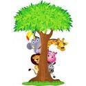 Sticker enfant Arbre animaux de la jungle
