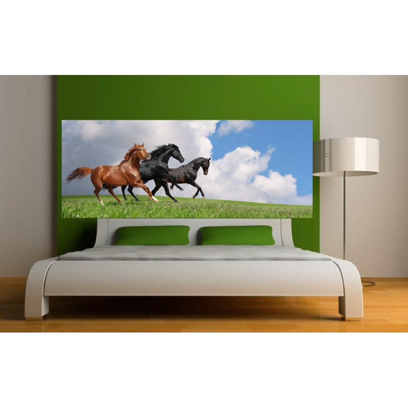 stickers t te de lit chevaux art d co stickers. Black Bedroom Furniture Sets. Home Design Ideas