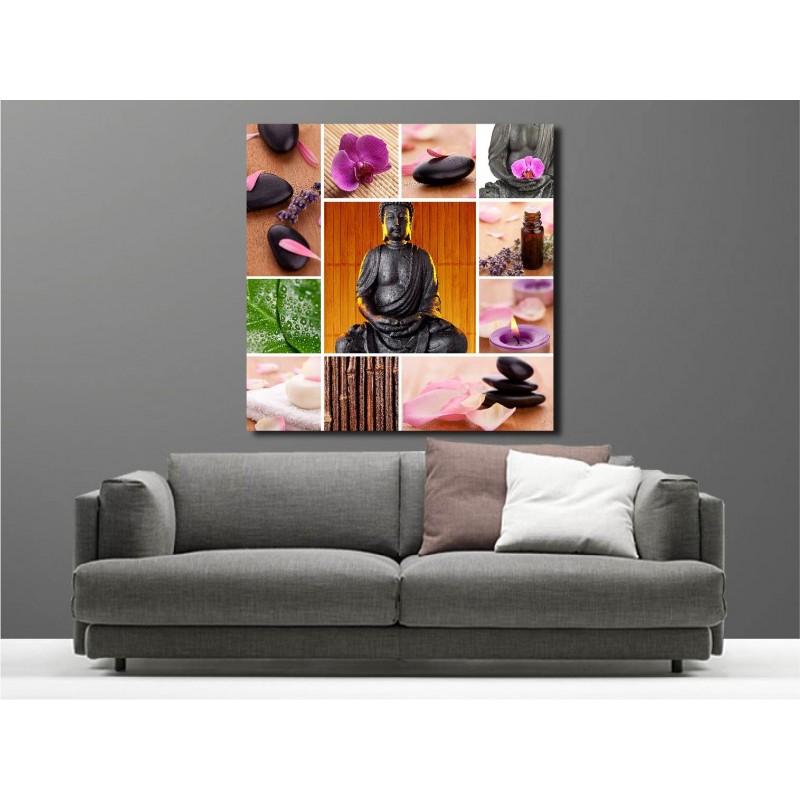tableaux toile d co carr bouddha galet bougie art d co stickers. Black Bedroom Furniture Sets. Home Design Ideas
