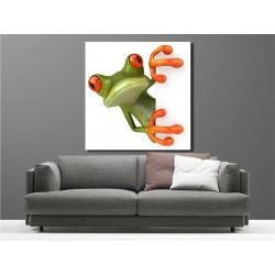 Tableaux toile déco carré grenouille