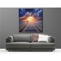 Tableaux toile déco carré couché de soleil