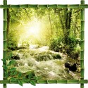 Sticker Trompe l'oeil deco Bambou Riviere