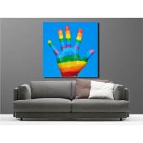 Tableaux toile déco main coloré