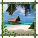 Sticker Trompe l'oeil deco Bambou Maldives