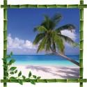 Sticker Trompe l'oeil déco Bambou Palmier