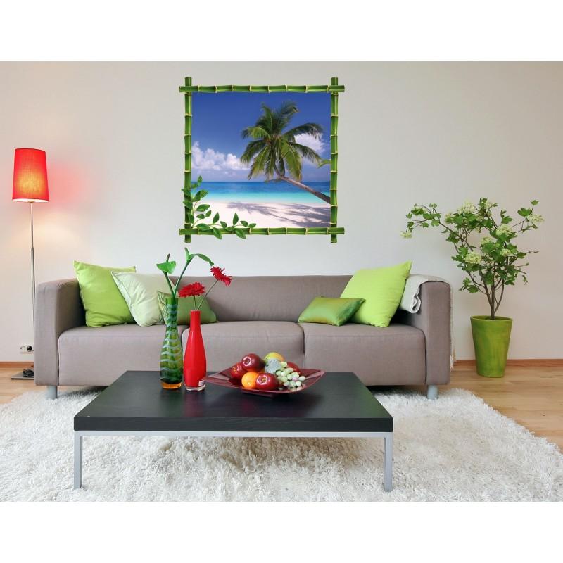 sticker trompe l 39 oeil d co bambou palmier art d co stickers. Black Bedroom Furniture Sets. Home Design Ideas