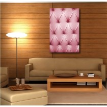 Tableaux toile déco rectangle verticale capitonnée rose