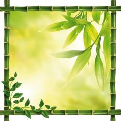 Sticker Trompe l'oeil deco feuilles Bambou