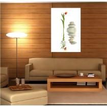 Tableaux toile déco rectangle verticale fleur et galet