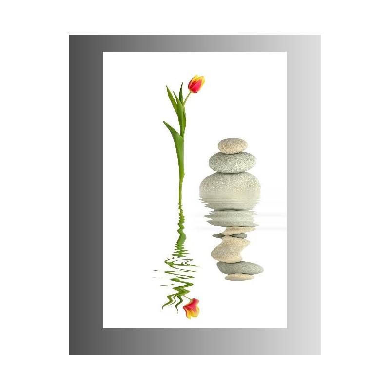 tableaux toile d co rectangle verticale fleur et galet art d co stickers. Black Bedroom Furniture Sets. Home Design Ideas