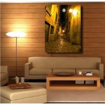 Tableaux toile déco rectangle verticale ruelle illuminée