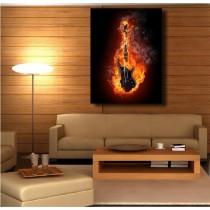 Tableaux toile déco rectangle verticale guitare enflammée