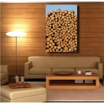 Tableaux toile déco rectangle verticale fagot de bois