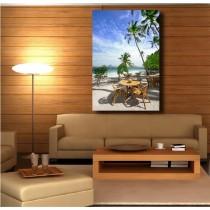 Tableaux toile déco rectangle verticale terrasse vue sur la plage