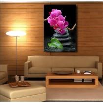 Tableaux toile déco rectangle verticale galet orchidée