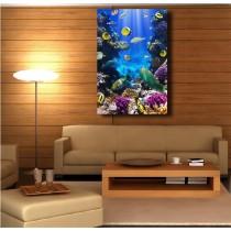 Tableaux toile déco rectangle verticale petits poissons tropicaux