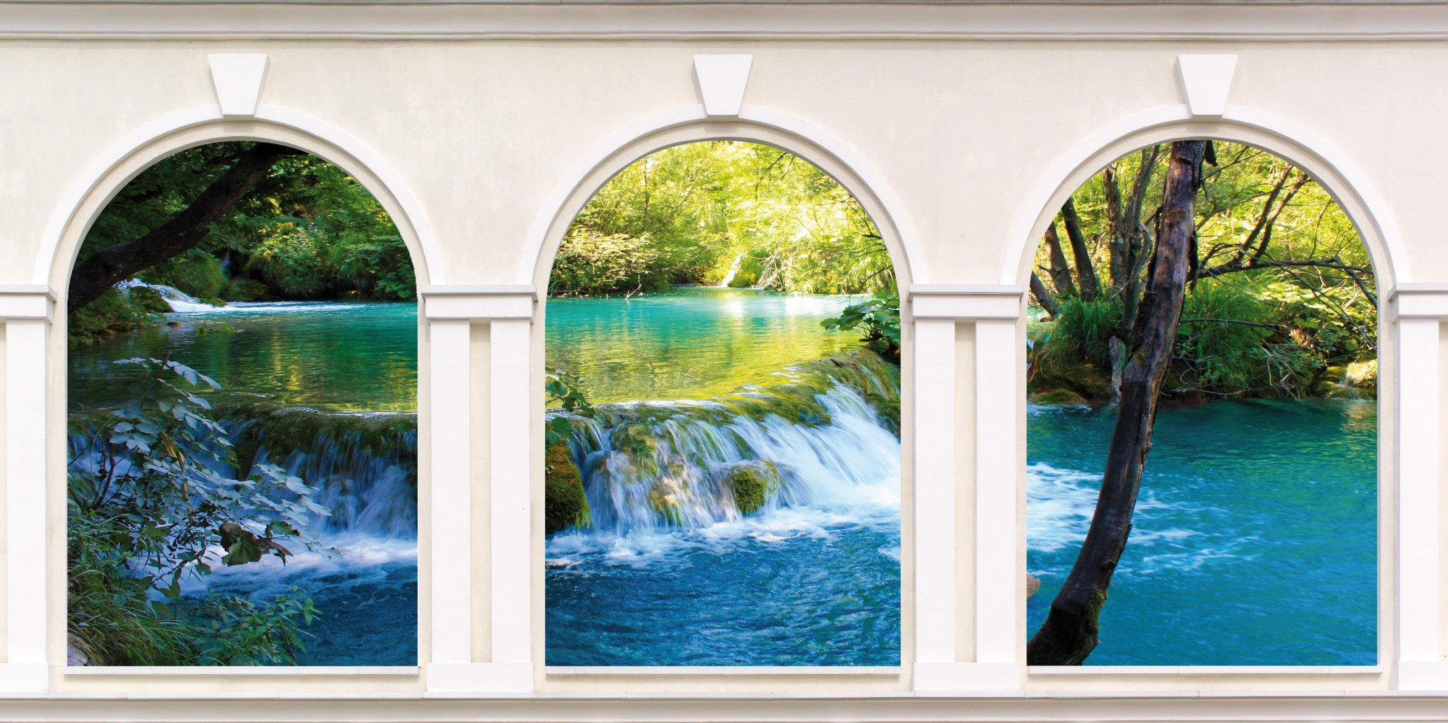 Sticker trompe l/'oeil river 3 arches