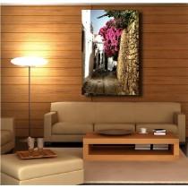 Tableaux toile déco rectangle verticale ruelle fleurie