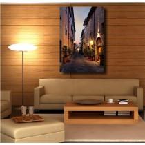 Tableaux toile déco rectangle ruelle éclairée