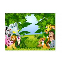 Stickers enfant géant Animaux de la Jungle