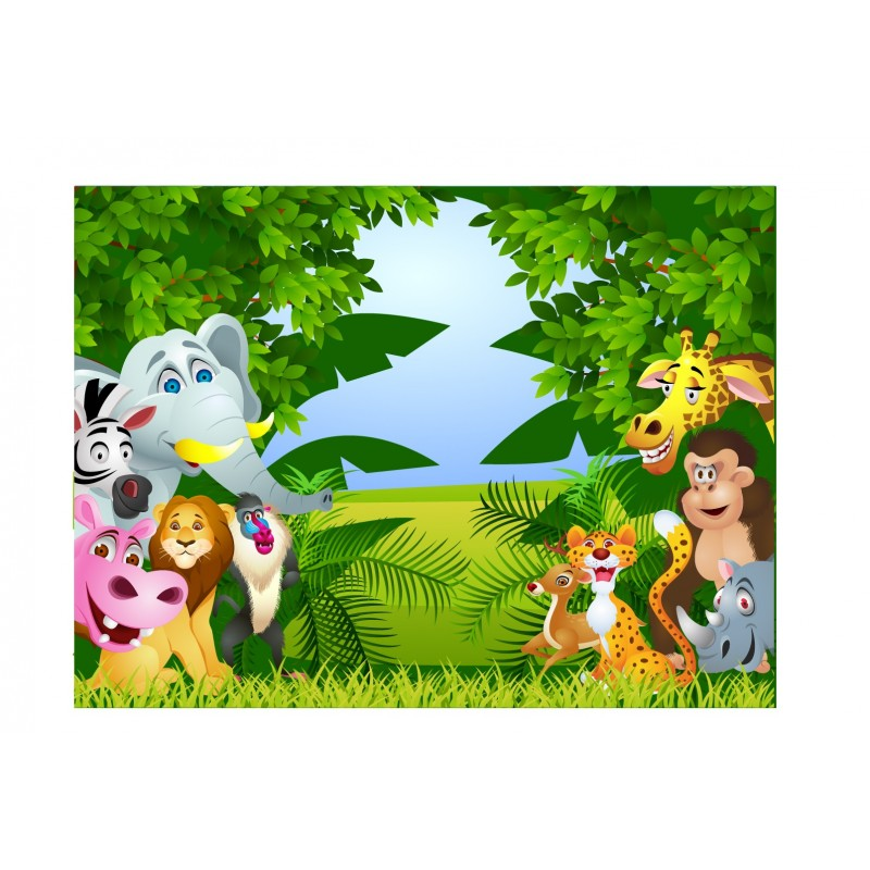 stickers enfant g ant animaux de la jungle art d co stickers. Black Bedroom Furniture Sets. Home Design Ideas