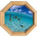 Sticker Trompe l'oeil deco Cadre Bois Aquarium