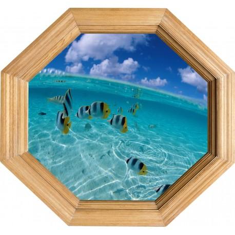 Sticker deco Cadre Bois Aquarium