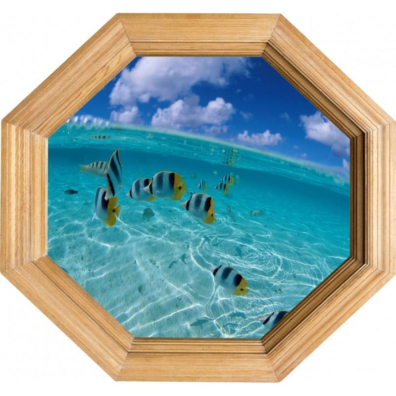 Sticker trompe l 39 oeil deco cadre bois aquarium art d co for Aquarium cadre