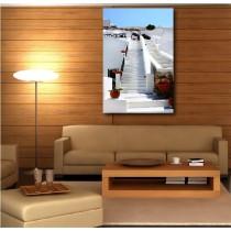 Tableaux toile déco rectangle escaliers blanc