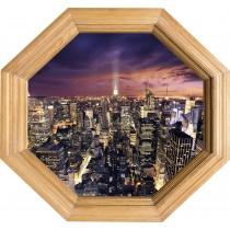Sticker Trompe l'oeil deco Cadre Bois New York