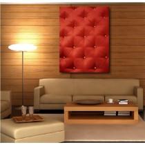 Tableaux toile déco rectangle verticale capitonnée rouge