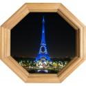 Sticker Trompe l'oeil deco Cadre Bois tour Eiffel