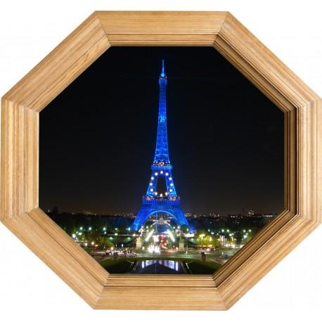 Sticker deco Cadre Bois tour Eiffel