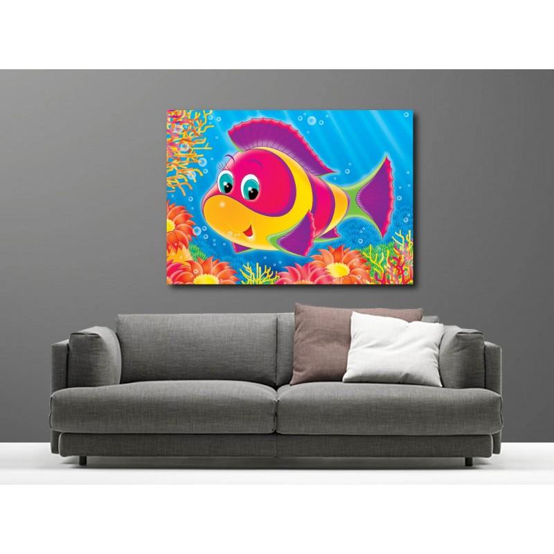 tableaux toile d co rectangle poisson multicolore art d co stickers. Black Bedroom Furniture Sets. Home Design Ideas