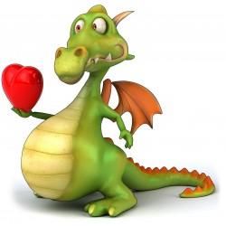 sticker Autocollant enfant Dragon amoureux