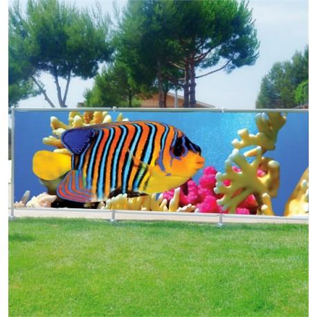 Brise vue d co poisson mer rouge art d co stickers for Deco poisson rouge