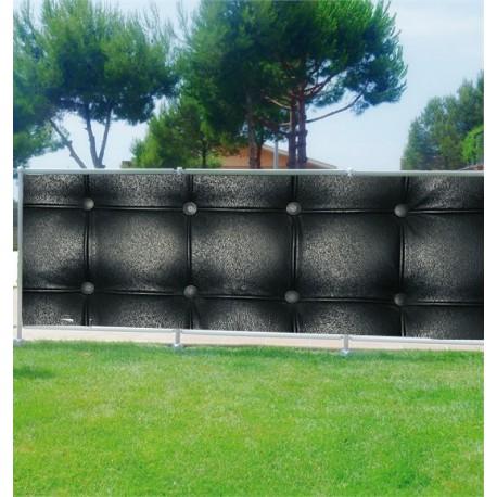 Brise-vue déco Capitonné noir - Art Déco Stickers