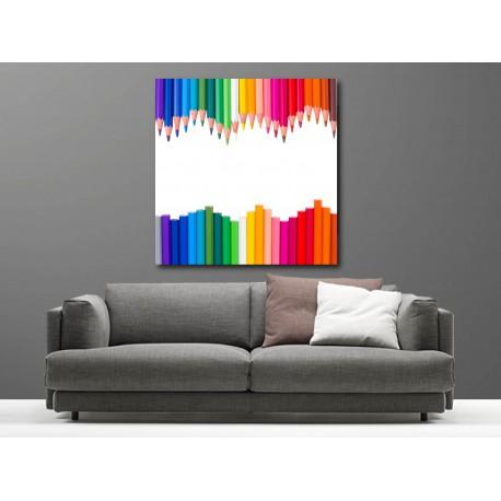 Tableaux toile déco carré crayon de couleur