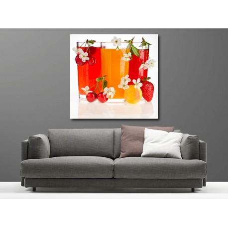 Tableaux toile déco carré verre de jus de fruit