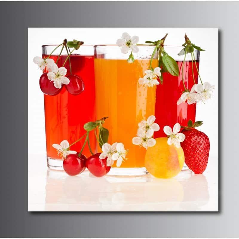 tableaux toile d co carr verre de jus de fruit art d co stickers. Black Bedroom Furniture Sets. Home Design Ideas