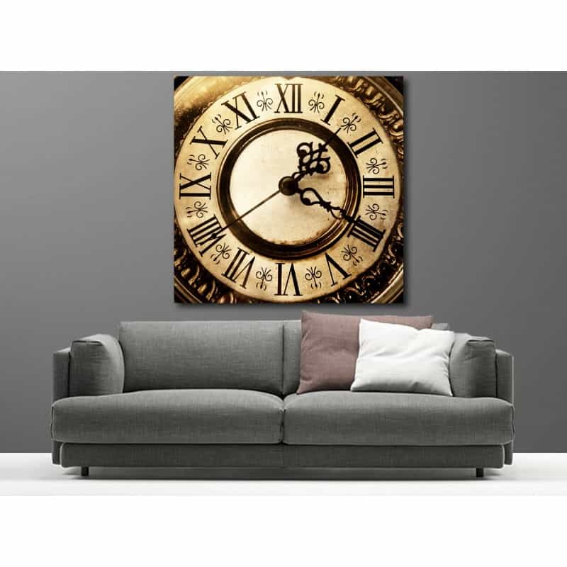 tableaux toile d co carr horloge art d co stickers. Black Bedroom Furniture Sets. Home Design Ideas